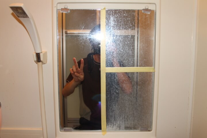 お風呂場の鏡のウロコを取る実験