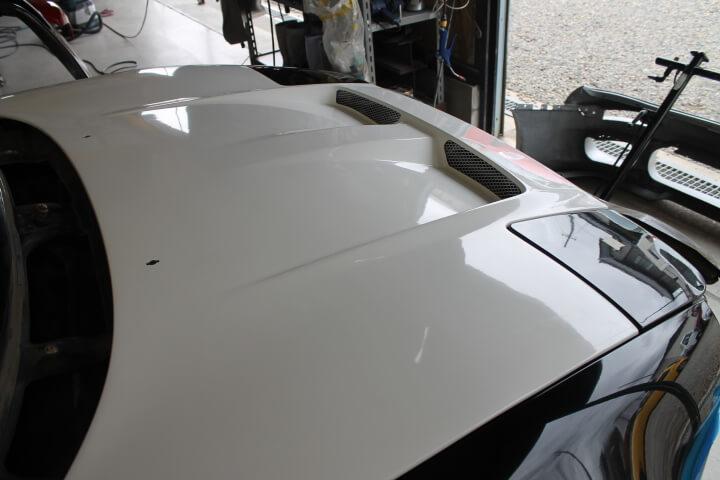 SW20 MR2 ボーダー製ボンネット取付調整