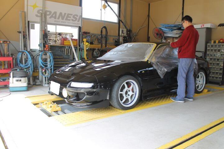 トヨタSW20 MR2全塗装後の磨き作業