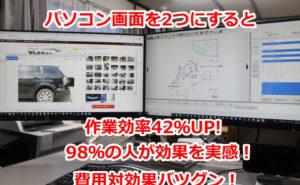 パソコン画面を2つにすると、作業効率42%アップ、98%の人が効果を実感、費用対効果抜群