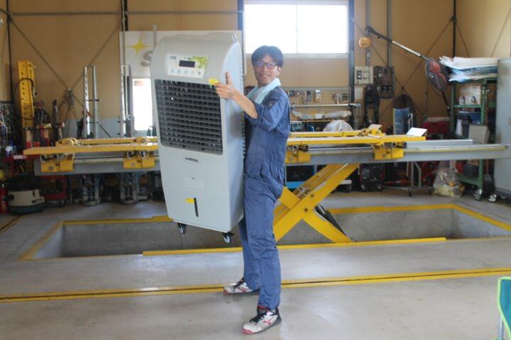 サンコー冷風機の重量は20kg程度