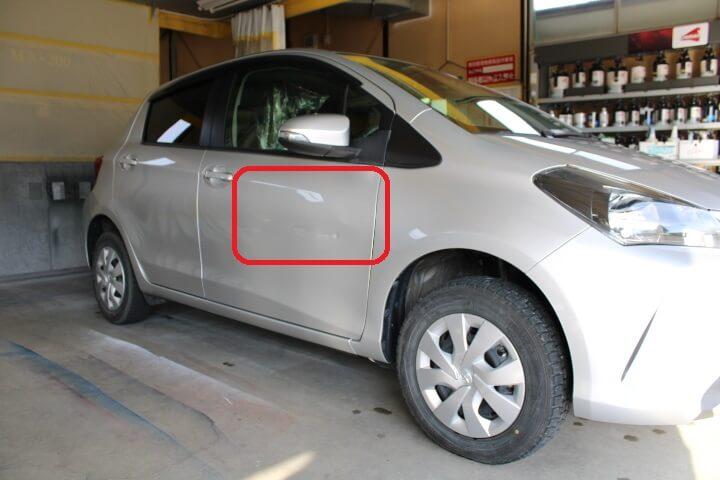トヨタ NSP135 ヴィッツ 運転席ドアのヘコミ