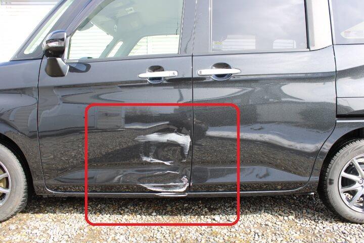 ダイハツ M910S トールカスタム 左側面の板金塗装修理